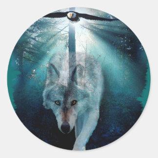WOLF & EAGLE Wildlife Series Classic Round Sticker