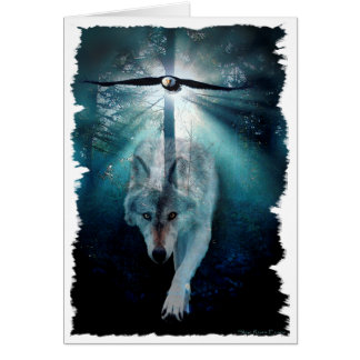 WOLF & EAGLE Wildlife Series Greeting Card