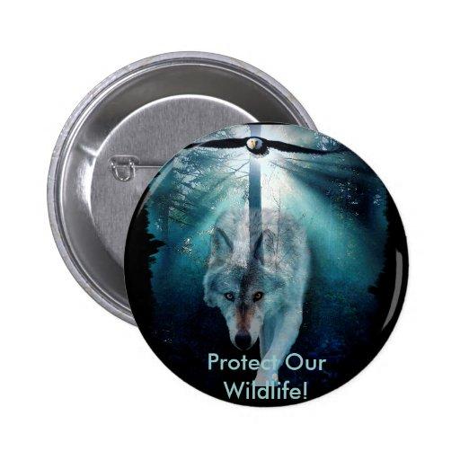 WOLF & EAGLE Wildlife Series Pin