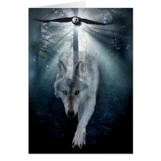 Wolf & Eagle Wildlife Support Blank Greeting-card Card