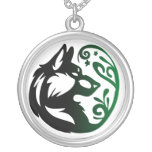 Wolf Element Tribal -Earth- Round Pendant Necklace