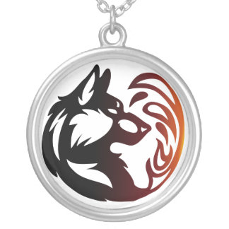 Wolf Element Tribal -Fire- Round Pendant Necklace