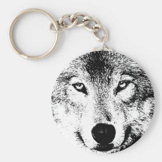 Wolf Eye Black White Creative Ink Artwork Keychain