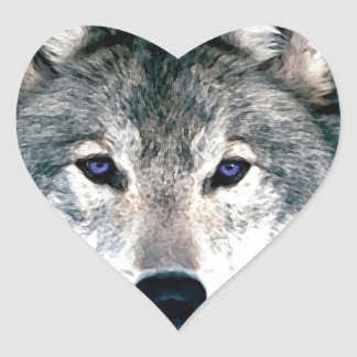 Wolf Eyes in woods wild nature animal Print Heart Sticker