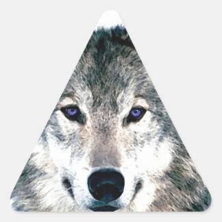 Wolf Eyes in woods wild nature animal Print Triangle Sticker