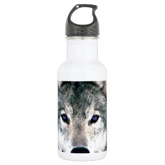 Wolf Eyes in woods wild nature animal Print Water Bottle