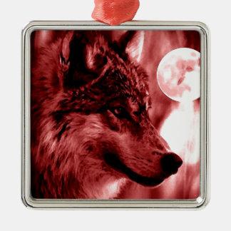Wolf Eyes & Moon Square Metal Christmas Ornament