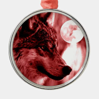 Wolf Eyes & Moon Round Metal Christmas Ornament