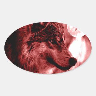 Wolf Eyes & Moon Oval Sticker