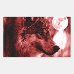 Wolf Eyes & Moon Rectangular Sticker