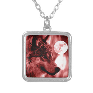 Wolf Eyes & Moon Square Pendant Necklace
