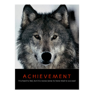 Wolf Eyes Motivational Achievement Poster