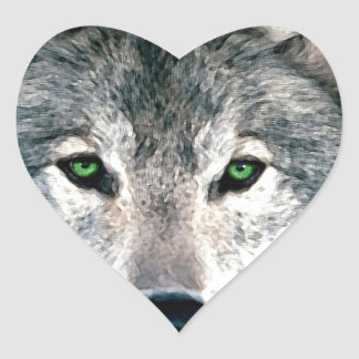 Wolf Eyes wild nature animal Print Heart Sticker
