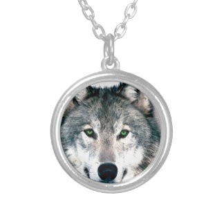 Wolf Eyes wild nature animal Print Round Pendant Necklace