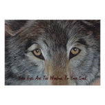 wolf eyes wildlife painting realist art poster