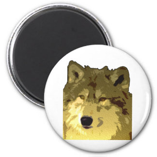 Wolf Face 2 Inch Round Magnet