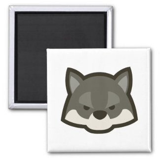 Wolf Face 2 Inch Square Magnet