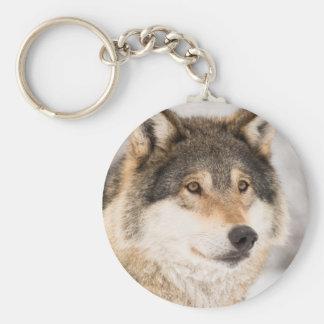 Wolf Face Basic Round Button Keychain