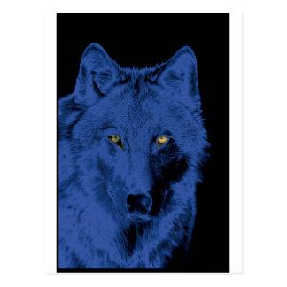 Wolf Face - Black & Blue Postcard