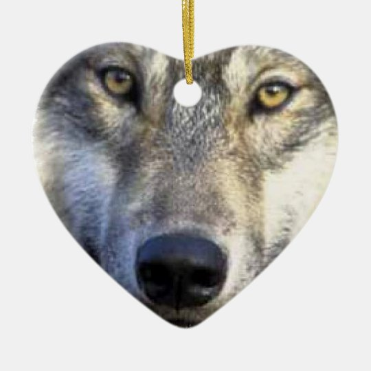 Wolf face close up ceramic ornament