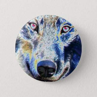 Wolf face colored button