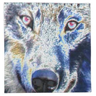 Wolf face colored cloth napkin