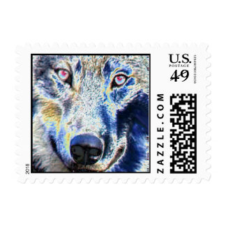 Wolf face colored Postage