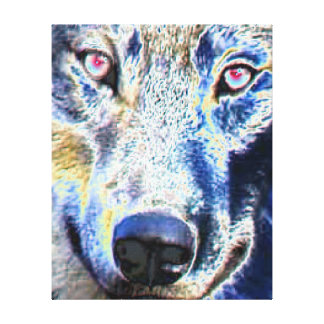 Wolf face colored Stretched Canvas Print