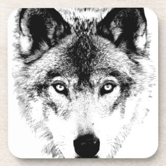 Wolf Face. Digital Wildlife Image. Beverage Coaster