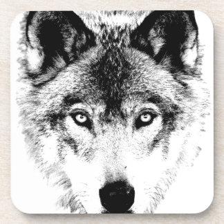 Wolf Face Digital Wildlife Image Coaster