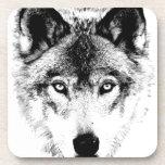 Wolf Face. Digital Wildlife Image. Drink Coaster