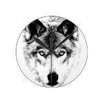 Wolf Face. Digital Wildlife Image. Wallclocks