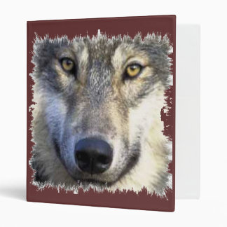 Wolf face gray ring binder