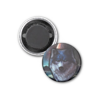 Wolf face in space,Blue wolf painting 1 Inch Round Magnet