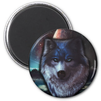Wolf face in space,Blue wolf painting 2 Inch Round Magnet
