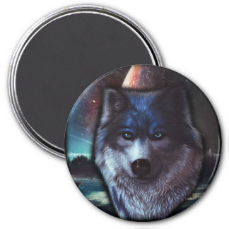 Wolf face in space,Blue wolf painting 3 Inch Round Magnet
