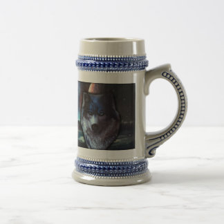 Wolf face in space,Blue wolf painting Beer Stein