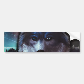 Wolf face in space,Blue wolf painting Bumper Sticker