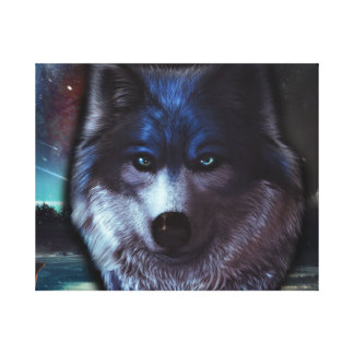Wolf face in space,Blue wolf painting Canvas Print