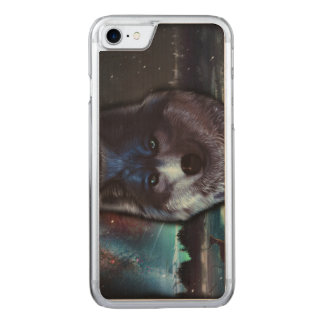 Wolf face in space,Blue wolf painting Carved iPhone 8/7 Case