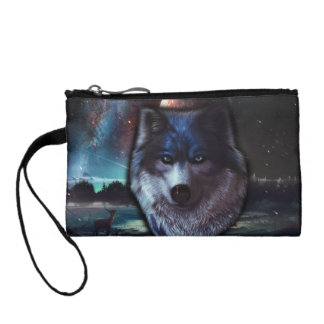 Wolf face in space,Blue wolf painting Change Purse