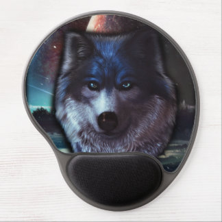 Wolf face in space,Blue wolf painting Gel Mouse Pad