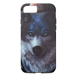 Wolf face in space,Blue wolf painting iPhone 8/7 Case