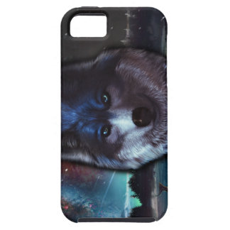 Wolf face in space,Blue wolf painting iPhone SE/5/5s Case