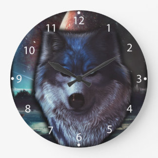 Wolf face in space,Blue wolf painting Large Clock