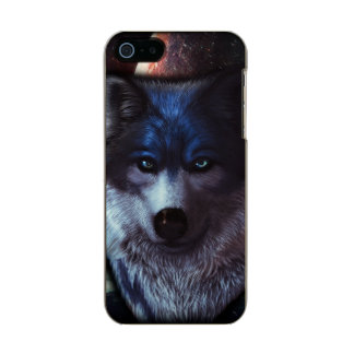 Wolf face in space,Blue wolf painting Metallic Phone Case For iPhone SE/5/5s
