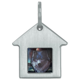 Wolf face in space,Blue wolf painting Pet ID Tag