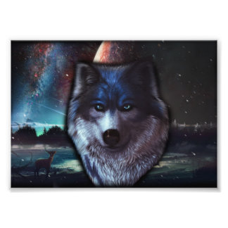 Wolf face in space,Blue wolf painting Photo Print