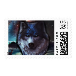 Wolf face in space,Blue wolf painting Postage