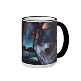 Wolf face in space,Blue wolf painting Ringer Mug